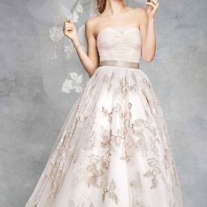 OLEG CASSINI Strapless Corset Gown with Rose Appli